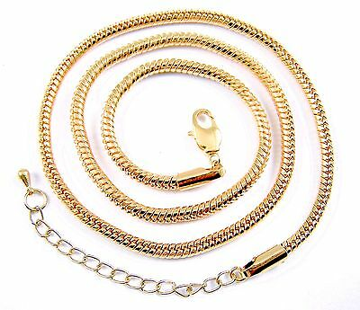 Necklace Chain Snake Gold Plate Brass Plate Adjustable 19 20 21 Inch, 3mm - 3mm Thick Snake Chain