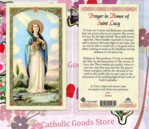 St. Saint Lucy - Prayer in Honor of St. Saint Lucy - Laminated  Holy Card