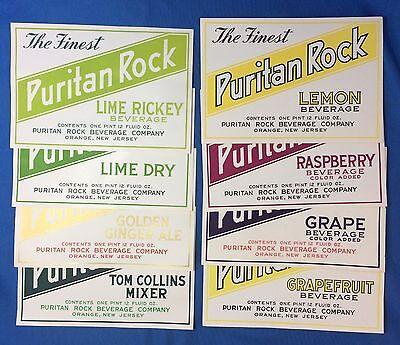 8 c 1940 PURITAN ROCK Lime Lemon Grape Raspberry SODA Bottle Label ORANGE NJ