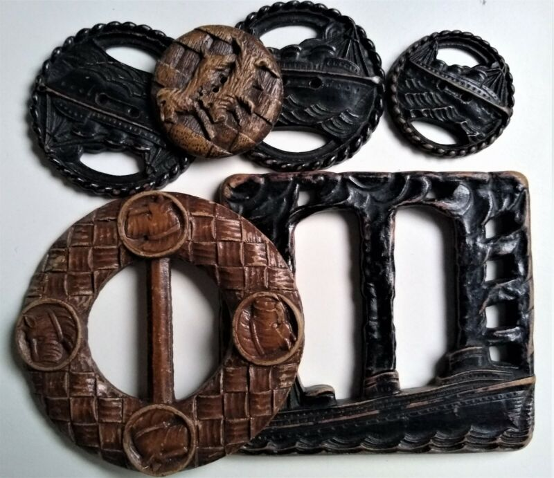 Lot Antique Vtg Burwood Very Large Buckles & Buttons Ocean Liner Ship Scotties