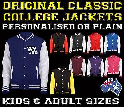 Personalised FRONT College Varsity Jacket Baseball KIDS & ADULTS birthday gift