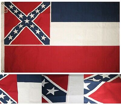 4x6 Embroidered Sewn State of Mississippi 100% Cotton 4x6 Flag hand made