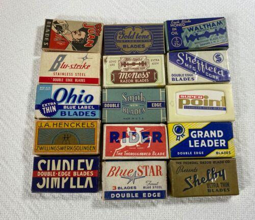 Lot of 15 Vintage DE Razor Blade Boxes
