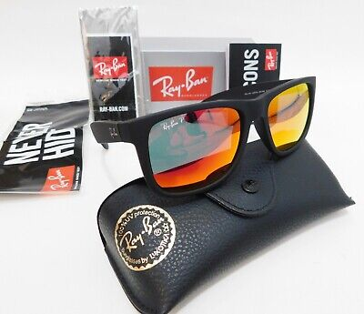 Ray-Ban Justin Sunglasses Matte Black Frame Red Mirror Lens RB4165 54MM NEW