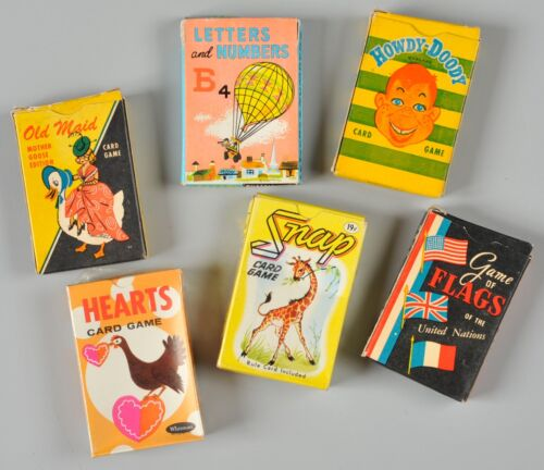 Vintage Card Games Lot of 6 Howdy Doody Old Maid Flags Hearts Snap Russell