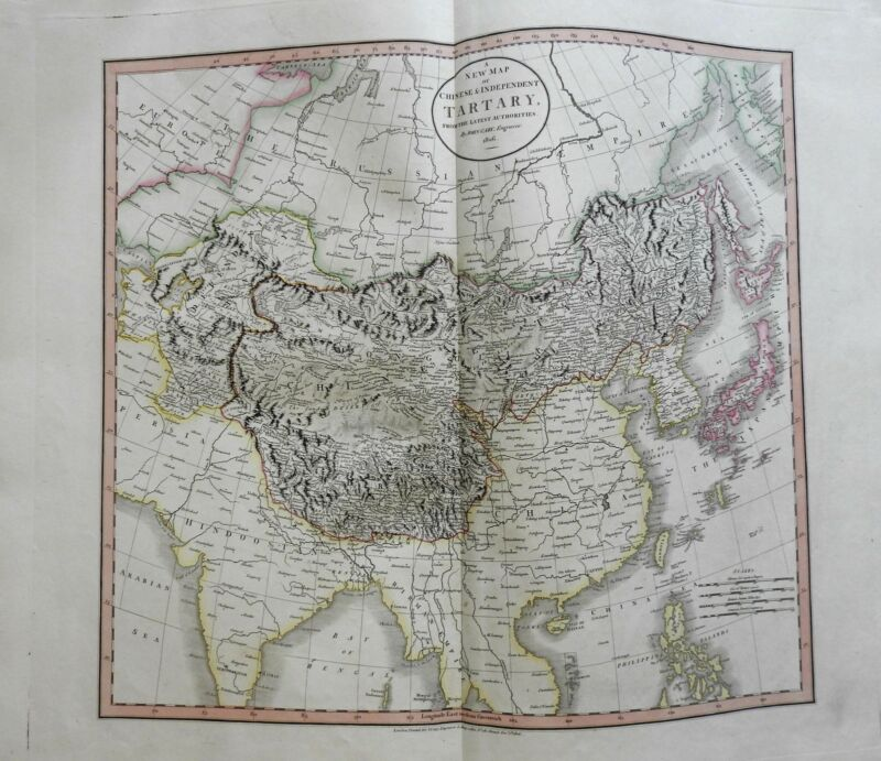 Central Asia Mongolia Independent & Chinese Tartary 1806 Cary folio map