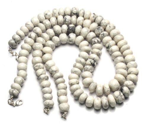 """Natural Gem White Howlite 10 to 11MM Size Faceted Rondelle Beads Necklace 17"""""""