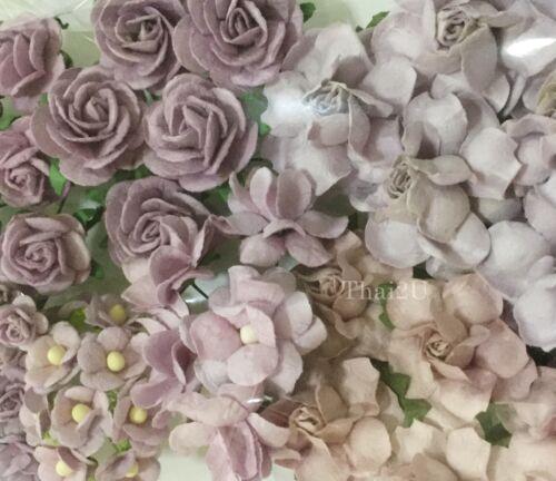 45 Mix Paper Flower DIY Wedding Scrapbook Card Making Topper TH/Set-Lilac 188