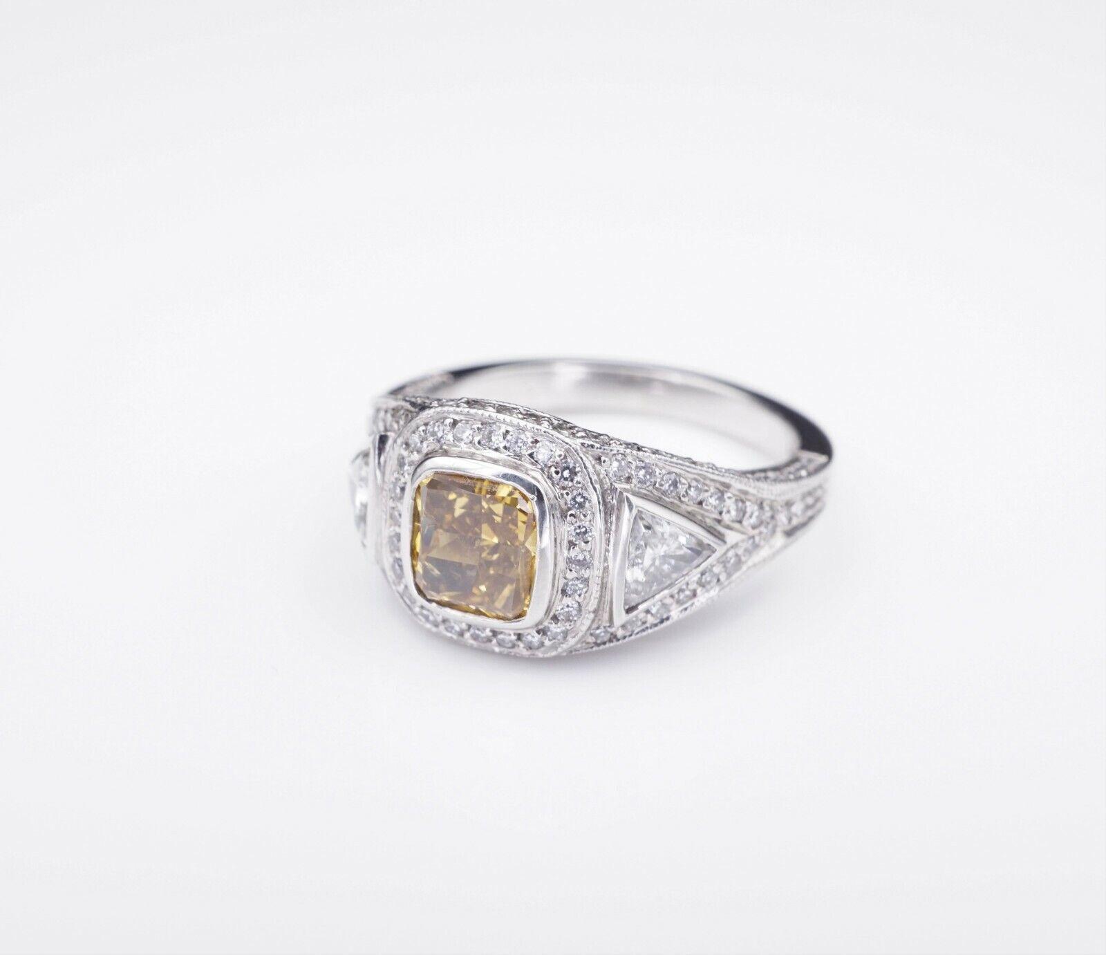 Platinum 3ct Orange-Yellow Diamond Halo Engagement Ring Size 6.75 GIA CO450 2