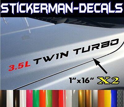 2x  3.5L Twin Turbo Hood sticker decals emblem Ford F150 Ecoboost V6 Twin Turbo Hood