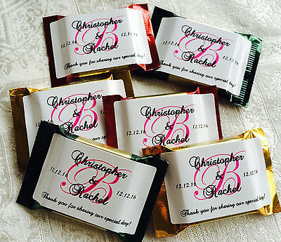 90 PERSONALIZED HIGH GLOSS MONOGRAM WEDDING FAVOR LABELS for CHOCOLATE - Personalized Chocolates