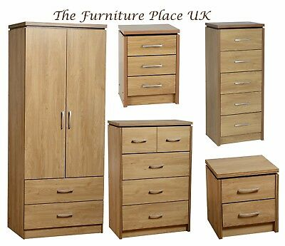 Charles Oak Veneer With Walnut Trim Bedside 3 5,6 Dr Chest,2 Door Wardrobe