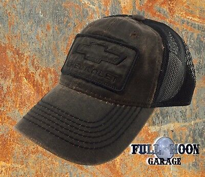 - NEW Chevrolet Chevy Rugged Black Brown Grease Mens Adjustable Trucker Cap Hat