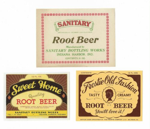 Lot of 3 Vintage Root Beer Labels Sweet Home, Frostie Old Fashion & Sanitary