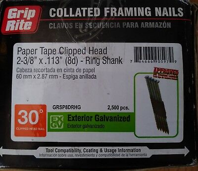 Clipped Head Ring Shank Nails - Grip-Rite Paper Tape Clipped Head 2-3/8