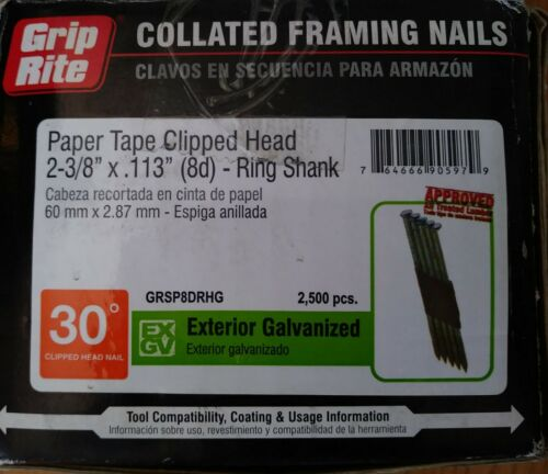 "Grip-Rite Paper Tape Clipped Head 2-3/8""×113"" (8d) Ring Shank Framing Nails 30°"