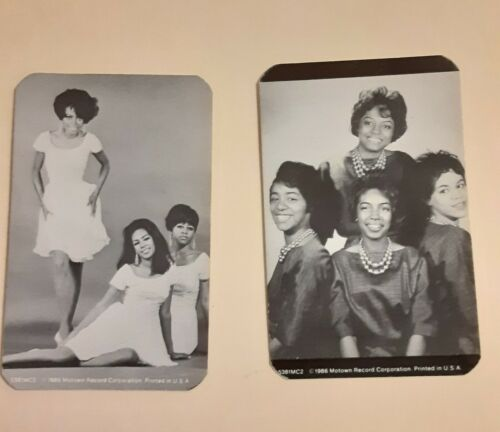 """SET OF 2 DIANA ROSS * SUPREMES / PRIMETTES 1986 MOTOWN 4"""" X 2 1/2"""" B/W CARDS # 5"""