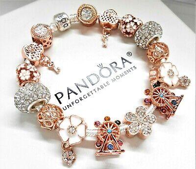Authentic Pandora Charm Bracelet Rose Gold Crystal Ferris Wheel European Charms.