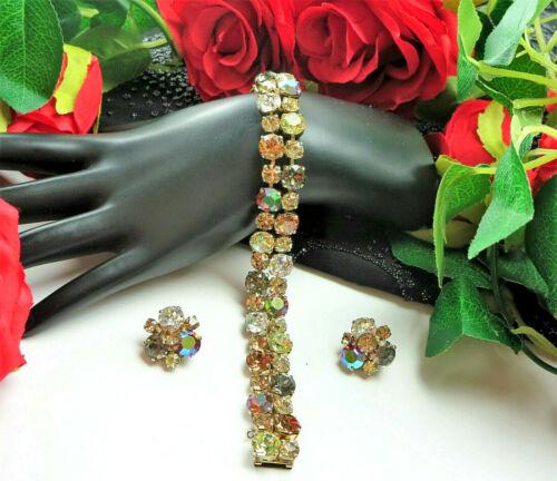 Vtg SHERMAN Signed Shades of Early Autumn Rhinestone Bracelet Clip Earring SET