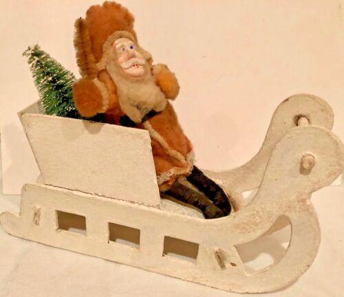 Antique Vintage Cotton Santa Clay Face Cardboard Sled Bottle Brush Tree Japan