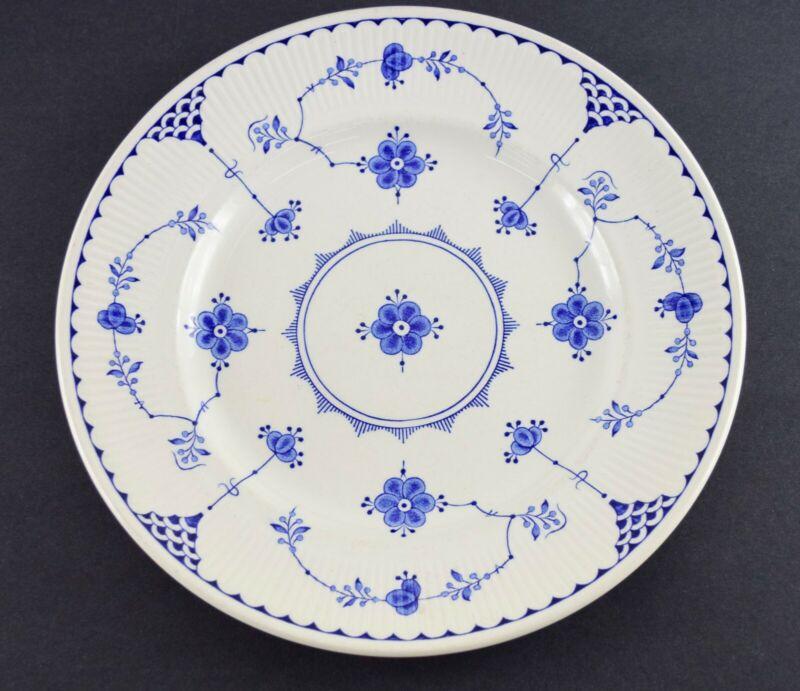 """FURNIVALS Denmark White/Blue 10 1/8"""" Dinner Plate Made in England"""