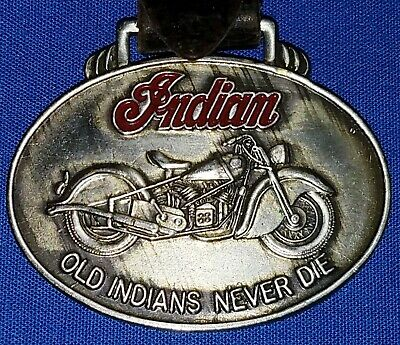 VINTAGE INDIAN CHIEF NICKLE OR CHROME AND RED ENAMEL WATCH FOB NO RESERVE