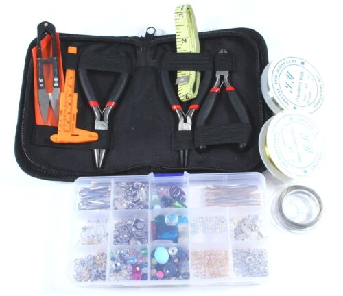 Large Beginners Jewelry Supplies Kit Gemstone Beads Crystals Charms Findings USA