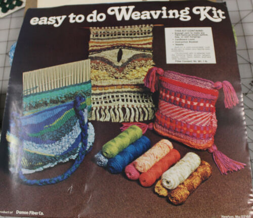 Vintage Easy to do Weaving Kit Makes 2 Projects Damon Fiber Co.