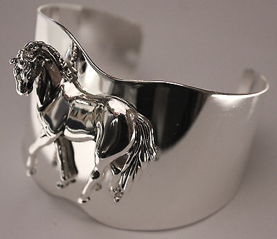 Best 3D Stunning Western Animal Horse High Polished Silver Tone Cuff Bracelet