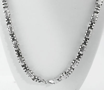 "91 gm 14K White Gold Men's Italian Bullet Semi-Hollow Chain Necklace 26"" 9 mm"