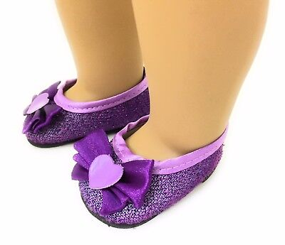 Purple Glitter Dress Shoes made for 18 inch American Girl Doll Clothes