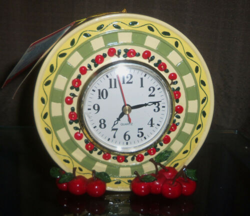 1999 Mary Engelbreit Ceramic Wall/Table Cherries Clock w/Original hang tag
