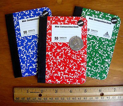 3 Mini Small Composition Notebooks Book Sewn Sewed Stitched Thread Bound Sturdy