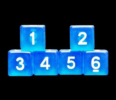 New Set of 6 Numbered D6 Six Sided Standard 16mm Dice - Translucent Blue 16mm Dice Standard