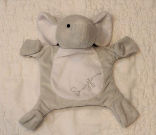 Snuggin Elephant Baby LOVEY SECURITY BLANKET Pacifier/Binkie Holder gray