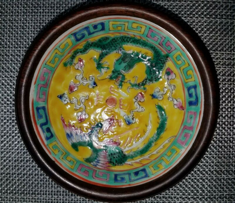 清沉香木粉彩瓷盏Qing agarwood famille rose Porcelain bowl dragon Phoenix Chinese antique