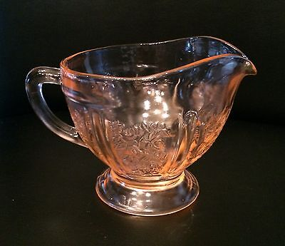 Sharon Cabbage Rose Pink Depression Glass Creamers  2