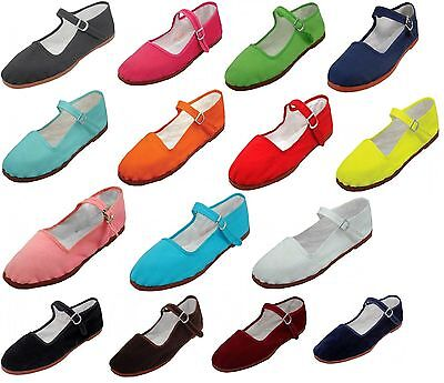 - Womens Cotton Mary Jane Shoes Ballerina Ballet Flats Shoes 15 Colors