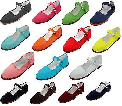 Womens Cotton Mary Jane Shoes Ballerina Ballet Flats Shoes 15 Colors ()