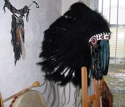 "Native American Navajo Indian 36"" War Bonnet Headdress ""BUFFALO HOGAN"" BLACK"