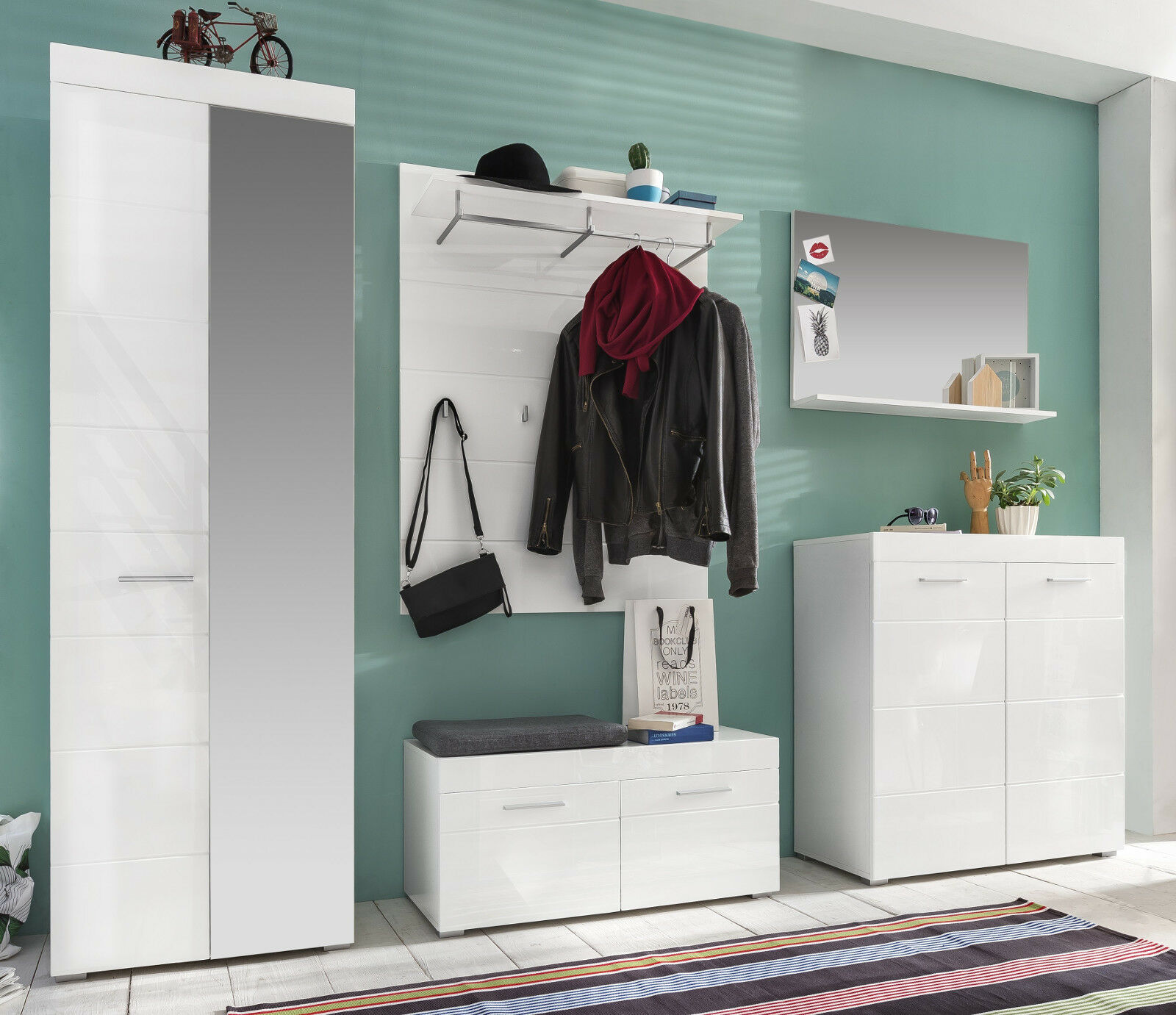 sitzbank weiss hochglanz bank schuhbank flur diele schuhschrank garderobe amanda eur 119 99. Black Bedroom Furniture Sets. Home Design Ideas