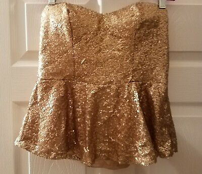 NWT Say What ? Sequence Tube Top Strapless Gold Size - Gold Sequence Top