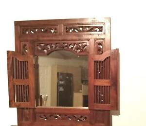 BEAUTIFUL BALINISE CARVED MIRROR WITH SHUTTERS