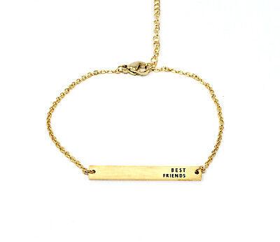 New gold tone BFF best friend forever bar friendship engraved bracelet gift (Best Friend Engraved Bracelets)
