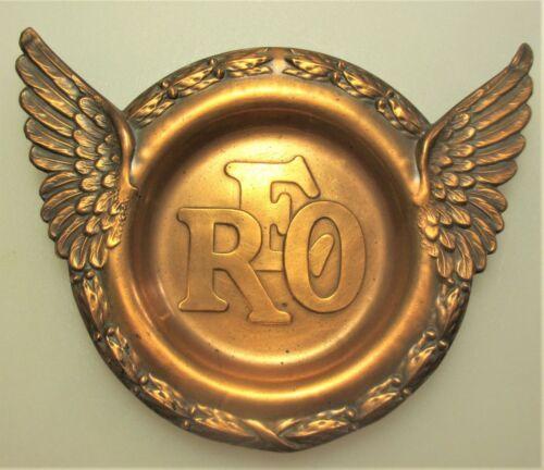 Original 1928 era REO emblem Speedwagon solid Copper ashtray Lansing Michigan