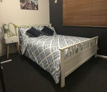 Double bed, mattress with warranty + 2 bedside tables