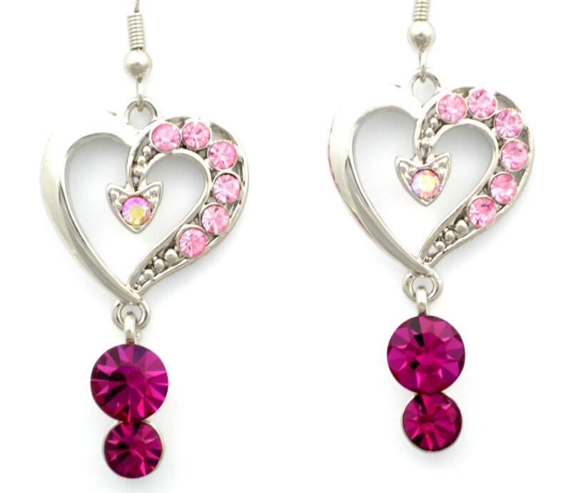 Swarovski Elements Crystal New Pink Rose Silver Love Heart Dangle Earrings Gift