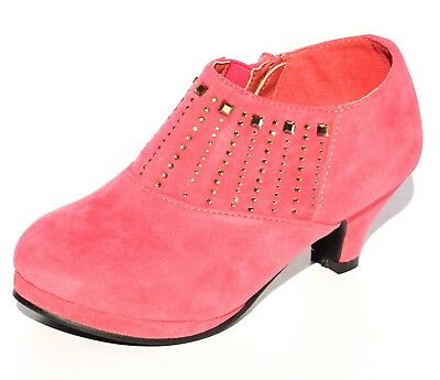 Girls Ankle Suede Boots Studded Rhinestone Kids High Heel Booties ](Kids High Heel Shoes)