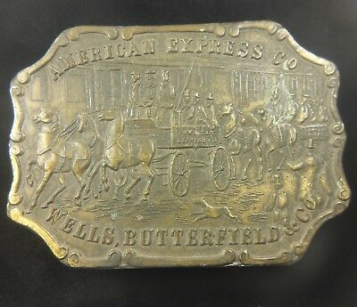 Vintage American Express Co Wells Butterfield Belt Buckle Western DISPLAY BROKEN