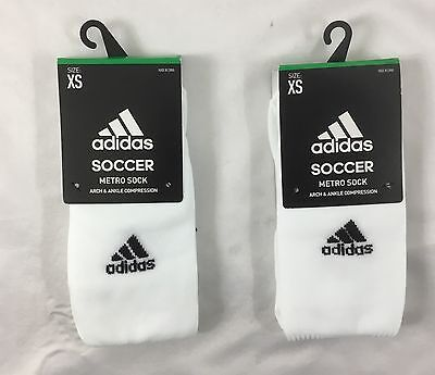 Adidas UNISEX Soccer Metro Socks Arch & Ankle Compression 2-Pack White Size L